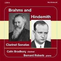 Picture of CD of clarinet sonatas by Brahms and Hindemith performed by Colin Bradbury (clarinet) and Bernard Roberts (piano).