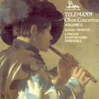 Picture of CD of concertos by Telemann for oboe / oboe d'amore and strings performed by Sarah Francis with the London Harpsichord Ensemble and the Triple Concerto for flute, oboe d'amore and viola d'amore.