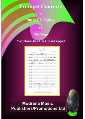 Picture of Sheet music  for trumpet and chamber orchestra. Score of Trumpet Concerto by David Golightly (includes computer generated recording)