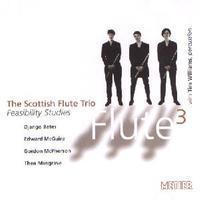Picture of CD of music for three flutes by Django Bates, Edward McGuire, Gordon McPherson and Thea Musgrave performed by the Scottish Flute Trio