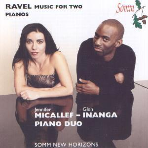 Picture of CD of Ravel's music for two pianos, performed by the Micallef-Inanga Piano Duo.