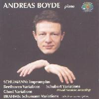 Picture of CD of piano Variations by Schumann and Brahms played by Andreas Boyde