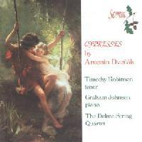 Picture of CD of music for tenor and piano and for string quartet by Dvorak, performed by Timothy Robinson (tenor), Graham Johnson (piano) and the Delme String Quartet
