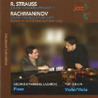 Picture of CD of violin and viola sonatas by R Strauss and S Rachmaninov performed by string player Yuri Zhislin and pianist George-Emmanuel Lazaridis
