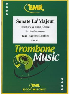 Picture of Sheet music for tenor trombone and piano or organ by Jean-Baptiste Loeillet