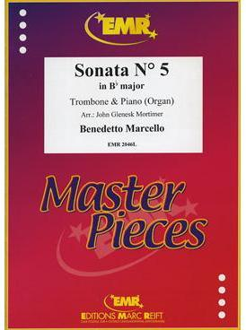 Picture of Sheet music  for trombone (bc/tc); piano or organ. Sheet music for tenor trombone (bass clef or treble clef)  and piano or organ by Benedetto Marcello