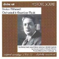 Picture of CD of orchestral and chamber music by Darius Milhaud, performed by Paul Badura-Skoda (piano), with the Vienna Symphony Orchestra (Swoboda), and the San Francisco Symphony Orchestra (Monteux)
