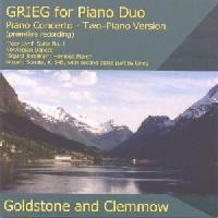 Picture of CD of piano music by Grieg and Mozart, arranged for two pianos, performed by Goldstone and Clemmow