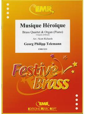 Picture of Sheet music  for 2 trumpets (bb/c) or cornets; french horn (eb/f) or trumpet; trombone (bc/tc) or euphonium; trombone (bc/tc), euphonium or tuba (bb/c/eb). Sheet music for brass quintet by Georg Philipp Telemann