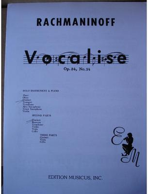 Picture of Sheet music for clarinet, tenor saxophone or trumpet, clarinet and piano by Sergei Rachmaninov