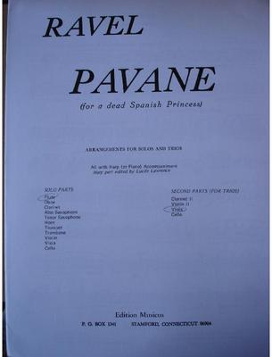 Picture of Sheet music for violin, flute or oboe, viola and piano or harp by Maurice Ravel