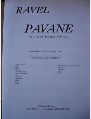 Picture of Sheet music for violin, flute or oboe, cello and piano or harp by Maurice Ravel