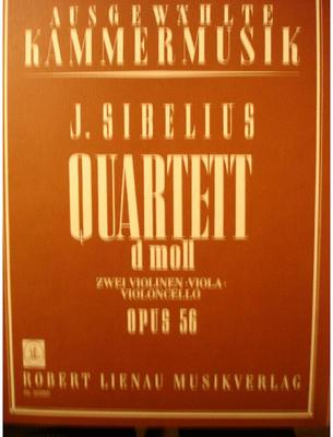 Picture of Sheet music  for 2 violins, viola and cello. Sheet music for string quartet by Jean Sibelius
