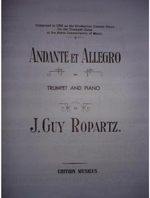 Picture of Sheet music for trumpet, cornet or flugelhorn and piano by Guy de Ropartz