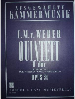 Picture of Sheet music  for clarinet, 2 violins, viola and cello. Sheet music for clarinet and string quartet by Carl Maria von Weber