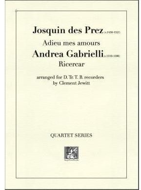 Picture of Sheet music  for descant recorder, treble recorder, tenor recorder and bass recorder by Josquin des Prez and Andrea Gabrielli. Works from the cusp of the Renaissance and early Baroque.