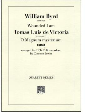 Picture of Sheet music  for descant recorder, treble recorder, tenor recorder and bass recorder by William Byrd and Tomas Luis de Victoria. Two Baroque composers contrast with each other.