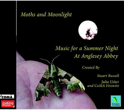 "Picture of Two haunting disks of moonlit atmosphere, vividly evoke the nocturnal world of moths. Stuart Russell's magnificent electronic sequence, ""The Radiant Moon""; and CoMA FIREWIRE' creates  music for a summer night  in  Anglesey Abbey's gardens."
