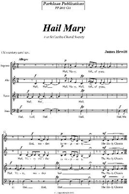 Picture of Sheet music  for chapel choir by James Hewitt. SATB unaccompanied anthem suitable for Christmas, Annunciation or general use.