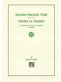 Picture of Sheet music  for flute, treble recorder and guitar by Giovanni Battista Vitali. Late 17th Century Italian trio sonata
