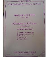 Picture of Sheet music  for 2 trumpets (Bb/C), french horn (Eb/F), trombone (bc/tc) and tuba (C/Eb). Sheet music for brass quintet by Anotnio Lotti