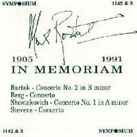 Picture of Remastered Double CD of concertos performed by Max Rostal. Bartok / Stevens / Berg / Shostakovitch.
