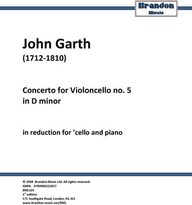Picture of Sheet music  for cello and piano by John Garth. Garth's extraordinary cello concertos