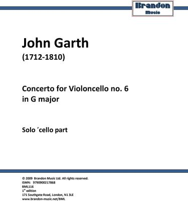 Picture of Sheet music  for cello by John Garth. Garth's extraordinary concerto