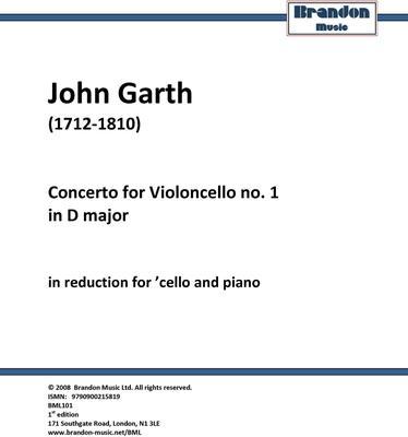 Picture of Sheet music  for cello and piano by John Garth. Garth's extraordinary cello concertos.