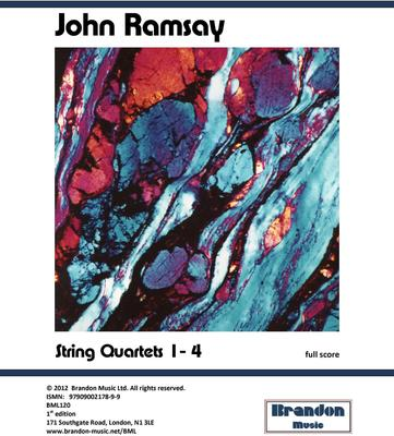 Picture of Sheet music  for violin, violin, viola and cello by John Ramsay. Ramsay's four string quartets have been praised unanimously by international music critics following their recording by the Fitzwilliam String Quartet. These are modern works written in a relatively traditional tonal style so are most accessible.