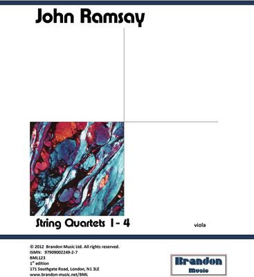 Picture of Sheet music  for viola by John Ramsay. Ramsay's four string quartets have been praised unanimously by international music critics following their recording by the Fitzwilliam String Quartets. These are modern works written in a relatively traditional tonal style so are most accessible.