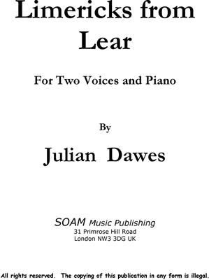 Picture of Sheet music  by Julian Dawes. Song setting for two voices and piano of a collection of Limericks by Edward lear