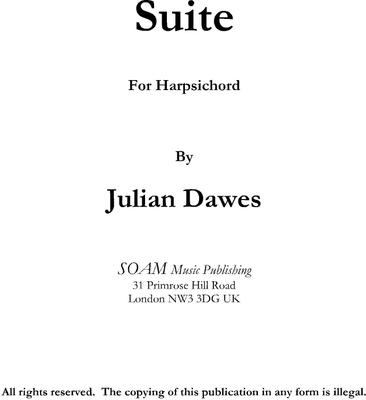 Picture of Sheet music  by Julian Dawes. Suite for Harpsichord
