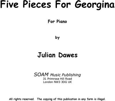 Picture of Sheet music  by Julian Dawes. Five pieces for young pianists just beginning piano lessons.