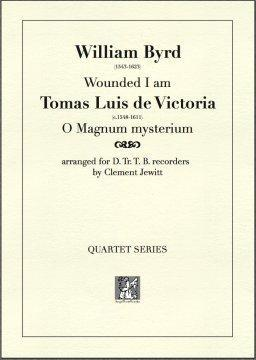 Picture of Sheet music  for descant recorder, treble recorder, tenor recorder and bass recorder by Tomas Luis de Victoria and William Byrd. Two Baroque composers contrast with each other.