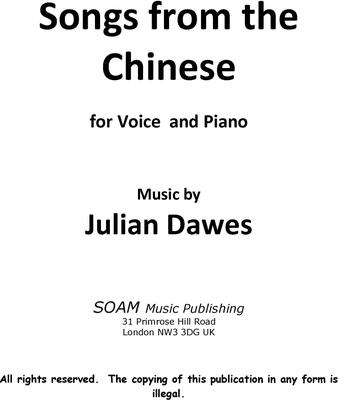 Picture of Sheet music  for voice and guitar by Julian Dawes. A setting in english of six Chinese love poems.