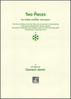 Picture of Sheet music  by Clement Jewitt. Contrasting pieces for treble recorder with piano