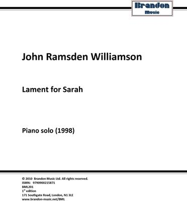 Picture of Sheet music  by John R. Williamson. This piano solo was written in 1998 after the sudden death of the composer's grand-daughter at the age of seven.