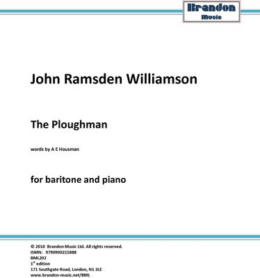 Picture of Sheet music  for Piano and baritone by John R. Williamson. Inspired by Housman's poetry