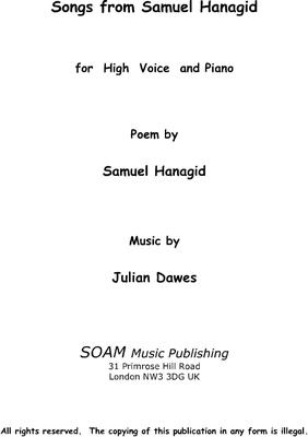 Picture of Sheet music  by Julian Dawes. A setting of eight poems by the Hebrew poet Samuel Hanagid (993-1056AD) for High Voice and Piano