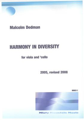Picture of Sheet music  by Malcolm Dedman. This is a duet for viola and cello and expresses the idea of harmony in a diverse culture.