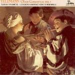 Picture of CD of oboe concertos by Telemann performed by Sarah Francis with the London Harpsichord Ensemble