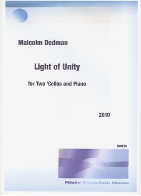 Picture of Sheet music  by Malcolm Dedman. This piece, for two cellos and piano, is about the oneness of humanity, of love and brotherhood.