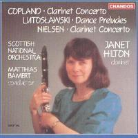 Picture of CD of concertos for clarinet by Copland and Nielsen performed by Janet Hilton with the Scottish National Orchestra conducted by Matthias Bamert