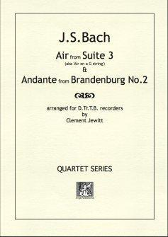 Picture of Sheet music  for descant recorder, treble recorder, tenor recorder and bass recorder by Johann Sebastian Bach. 'Air on a G string' and Andante from Brandenburg 2