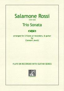 Picture of Sheet music  for flute, descant recorder, treble recorder, tenor recorder and guitar by Salamone Rossi. Early 17th Century instrumental music