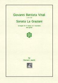 Picture of Sheet music  for flute, flute, treble recorder, treble recorder and guitar by Giovanni Battista Vitali. Late 17th Century Italian trio sonata