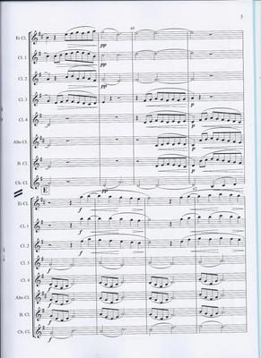 Picture of Sheet music  by Andrew Challinger. A single-movement piece lasting about three and three quarter minutes. Needs E flat, 4 B flats, alto, bass and contrabass (or contra-alto) clarinets.The music ebbs and flows calmly making only modest technical demands.