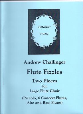 "Picture of Sheet music  for flute group by Andrew Challinger. Two pieces, entitled ""March Past"" and ""Fiesta"", for a large Flute Choir - Piccolo, 6 Concert Flutes, Alto and Bass Flutes. Total length about five minutes. Some parts are quite difficult; others more straightforward."