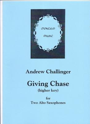 Picture of Sheet music  by Andrew Challinger. A three and a half minute piece for two alto saxophones. They begin together but soon move apart and are in hot pursuit for most of the piece. Difficult.;